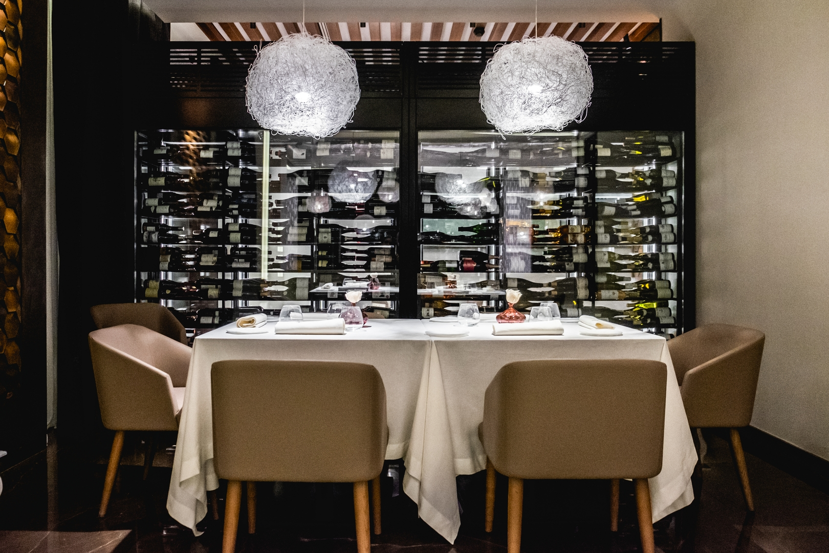 Private table with wine cellar